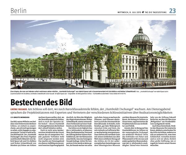 TAZ, die Tageszeitung, Brigitte Werneburg, Bestechendes Bild, 8 Juli 2015